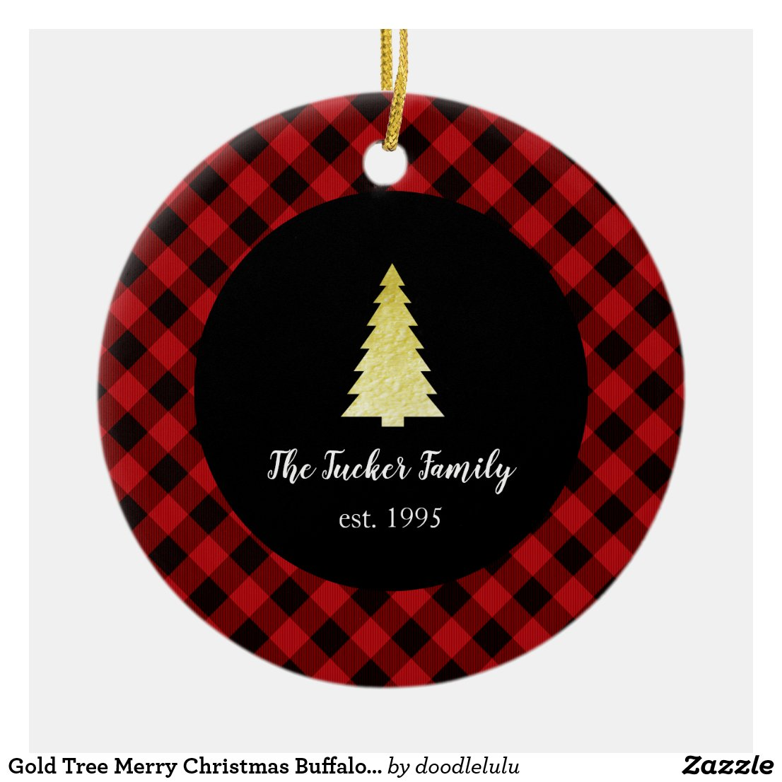 Gold Tree Merry Christmas Buffalo Plaid Ceramic Ornament