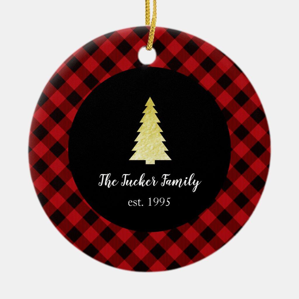 Gold Tree Merry Christmas Buffalo Plaid Ceramic Ornament