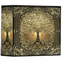 Gold Tree of Life Ancient Rustic 3 Ring Binder