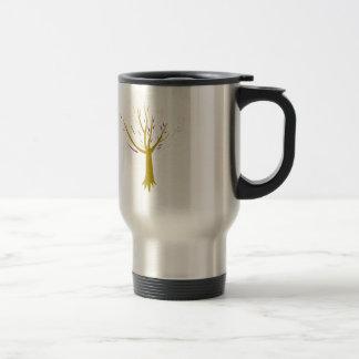 Gold tree on white travel mug