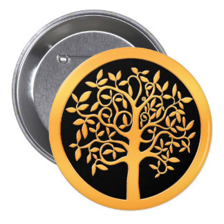 Gold Tree Pinback Button
