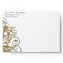 Gold Tree Swirl Wedding Envelopes