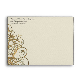 Gold Tree Swirl Wedding Envelopes