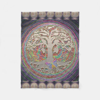 Gold Tree with Butterly Fleece Blanket
