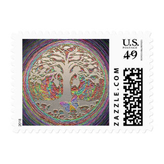 Gold Tree with Butterly Postage Stamp