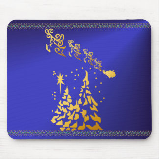 Gold Trees and Santas Reindeer Mousepad