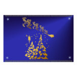 Gold Trees and Santas Reindeer Poster