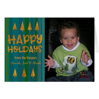 Gold Trees Happy Holidays w/ Photo & Green Stripes Card