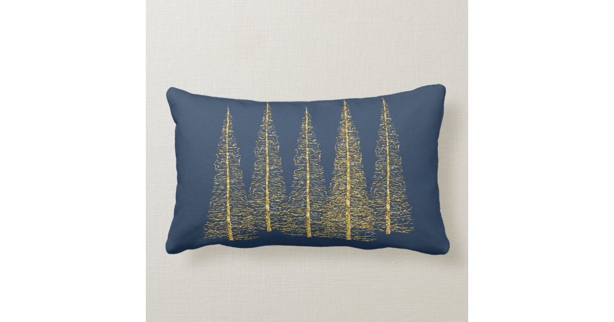 Gold Blue Decorative Pillow : Gold Trees on Blue Lumbar Throw Pillow Zazzle