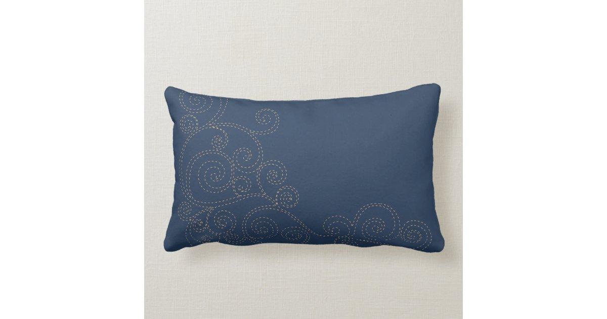 Blue Lumbar Throw Pillow : Gold Trees on Blue Lumbar Throw Pillow Zazzle