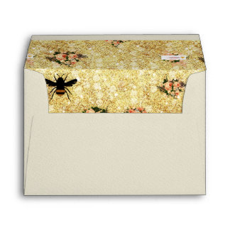 Gold,trendy,bee queen,roses,floral,vintage,love envelopes