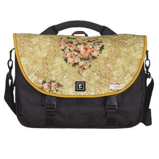 Gold,trendy,bee queen,roses,floral,vintage,love, commuter bag