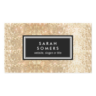 Gold Trendy Fun  FAUX Sequin Beauty Salon Double-Sided Standard Business Cards (Pack Of 100)