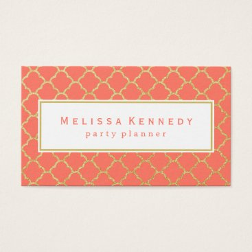 Professional Business Gold Trendy Pattern Business Cards Coral