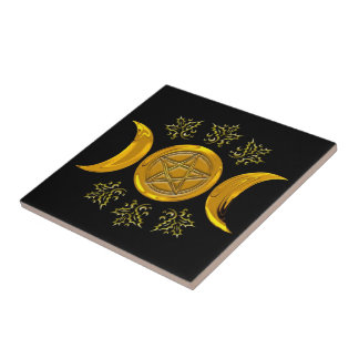 Gold Tri-Moon & Pentacle, Holly - Tile/Trivet #1 Tile