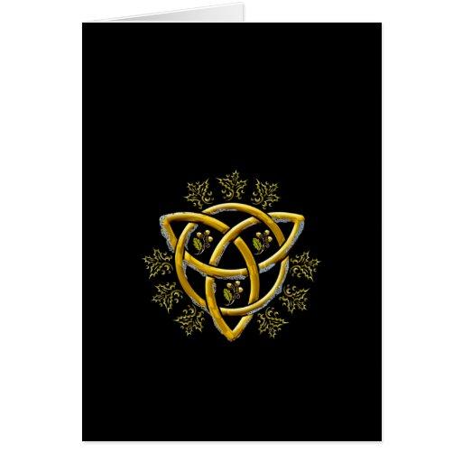 Gold Tri-quatra, Holly, & Oak - Card #1A