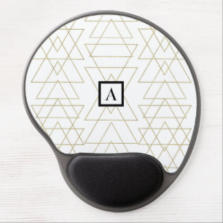 Gold Triangles Chic White Modern Glamour Gel Mouse Pad