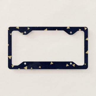 Gold triangles geometric navy blue watercolor license plate frame
