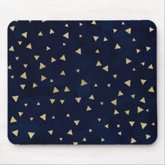 Gold triangles geometric navy blue watercolor mouse pad