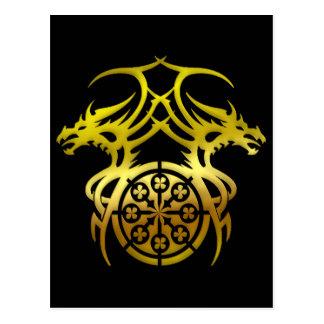 GOLD TRIBAL DRAGONS POSTCARD