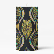 Gold Tribal Owl on Boho Abalone Pattern Pillar Candle