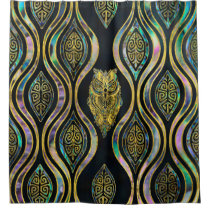 Gold Tribal Owl on Boho Abalone Pattern Shower Curtain