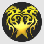 GOLD TRIBAL STAR DRAGONS STICKERS