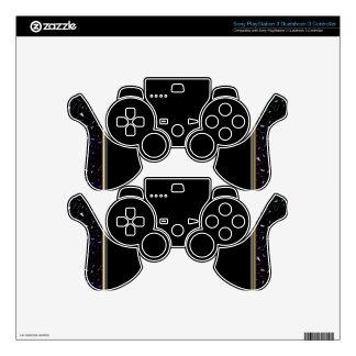 Gold Trim and Glitter Stripe on Black Skin PS3 Controller Skins