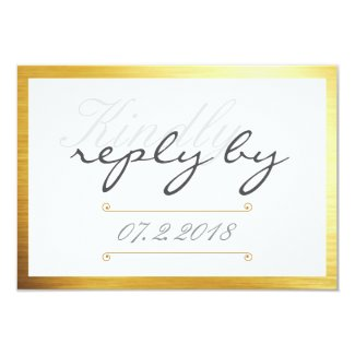 Gold Trim Kindly Reply Wedding RSVP Card