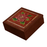 Gold Trim Poinsettia Jewelry Box