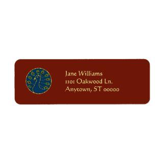 Gold-Trimmed Peacock Medallion Address Labels