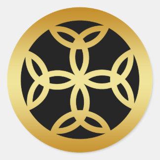 GOLD TRINITY CROSS CLASSIC ROUND STICKER