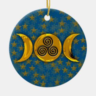 Gold Triple Moon Stars Snowflakes & Triple Spiral Ceramic Ornament