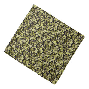 Gold Triple spiral black background Bandana
