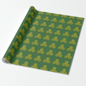 Gold Triple spiral deep green background Wrapping Paper