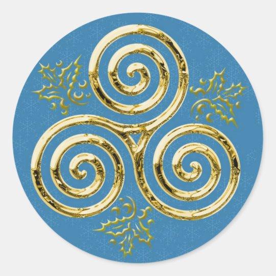 Gold Triple Spiral & Holly #2 - Sticker