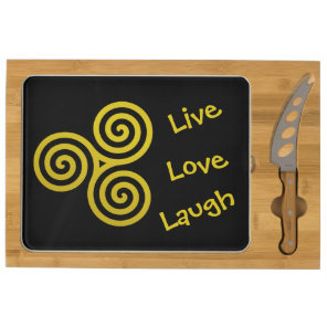 gold Triple spiral Live Love Laugh Cheese Board