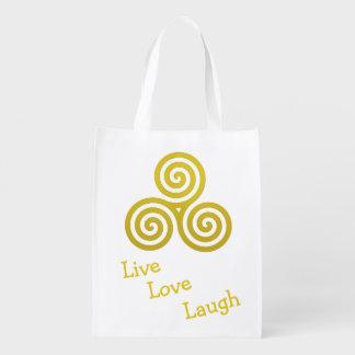 Gold Triple spiral live love laugh Reusable Grocery Bag