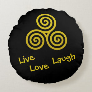 gold Triple spiral Live Love Laugh Round Pillow