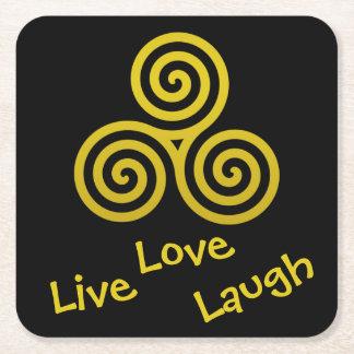 gold Triple spiral Live Love Laugh Square Paper Coaster