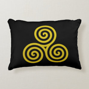 Gold Triple spiral on black Accent Pillow