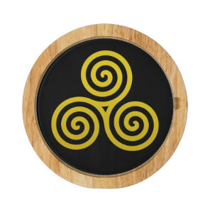 Gold Triple spiral on black Cheese Board