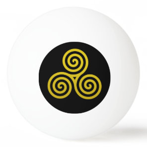 Gold Triple spiral on black Ping-Pong Ball