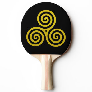 Gold Triple spiral on black Ping-Pong Paddle
