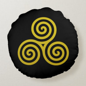 Gold Triple spiral on black Round Pillow