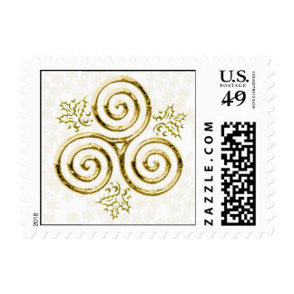 Gold Triple Spiral with Holly Leaves Stamps