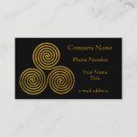 Gold Triskele on Black Business Card
