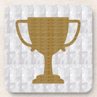 GOLD Trophy Crystal White  add text excellence Coaster