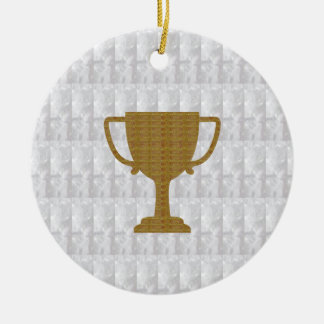 GOLD Trophy Crystal White Background NVN287 Winner Christmas Tree Ornaments
