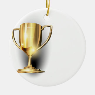 Gold Trophy Double-Sided Ceramic Round Christmas Ornament
